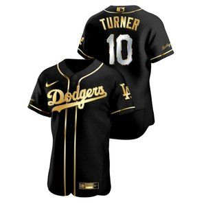 Men's Los Angeles Dodgers Justin Turner Black Gold